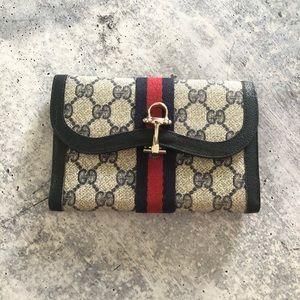 Gucci Navy Blue Supreme Web Horse Bit Wallet